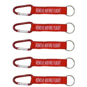 Pack de 5 llaveros remove before flight mosqueton