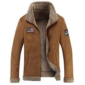 chaqueta piloto bombardero marrón con borrego