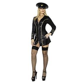 Disfraz de piloto sexy mujer falda