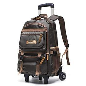 mochila de viaje con ruedas marron