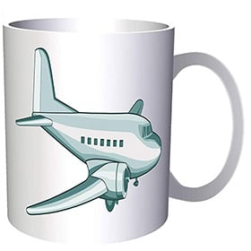 Taza de avion de color verde
